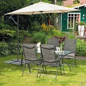 Metall-Gartenmöbel-Set 4Stühle & 1 Tisch mit Glasplatte