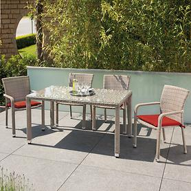 Geflecht-Gartenmöbel-Set, mit geschwungenen Armlehnen