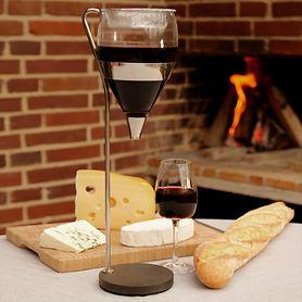 Dekanter und Weinkaraffe WINE TOWER aus Edelstahl und Glas