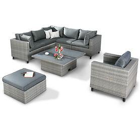 Geflecht-Lounge-Möbel, mit höhenverstellbarem Tisch