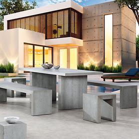 "*NEU*: Sitzgruppe ""Rockall"" aus Glasfaser-Beton, grau, 5-teilig"