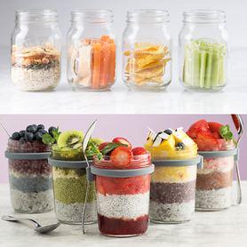 Frühstücksglas mit Löffel & Glasbehälter mit Trenneinsatz