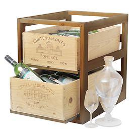 Weinregal CASE f. 2 Weinkisten Dunkelbraun gebeizt