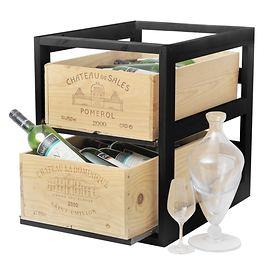 Weinregal CASE f. 2 Weinkisten Schwarz gebeizt