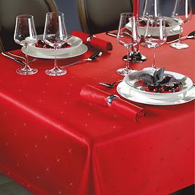Tischdecke Sternenhimmel, rubinrot 130 x 250 cm