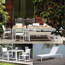 Aluminium Gartenmöbel mit Teakholz und Textilengewebe