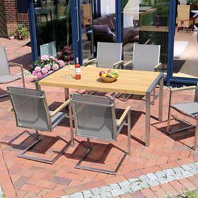 Edelstahl-Gartenmöbel mit Teakholz und Textilengewebe