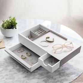 Schmuckbox Stowit weiß/grau