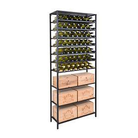 Metall-Weinregal BLACK PURE mit 3 Fäch. f. Kisten, H 200 x 80 cm