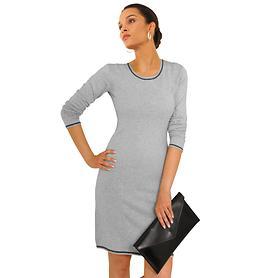 Kniefreies Jerseykleid aus Baumwoll-Seidenmix