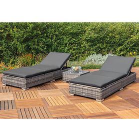 Gartenliegen-Set aus Polyrattan, mit Tisch, schwarz (Kopie)