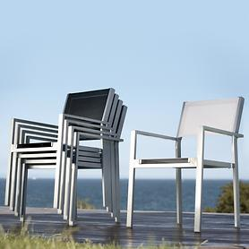 Aluminium-Gartenstühle mit Textilengewebe, stapelbar