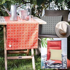 Outdoor-Kissen und Tischwäsche, abwaschbar, wasserabweisend, atmungsaktiv & strapazierfähig