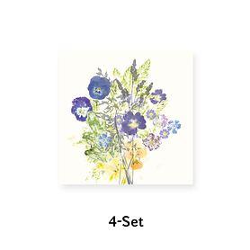 4-Set Servietten, Fleurs champetres  je 45x45cm