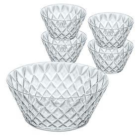 5-tlg. Set: Salatschale Crystal & 4 Portionsschalen