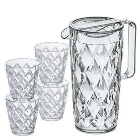 Kanne Crystal, 1,6l mit Deckel und 4 Gläsern