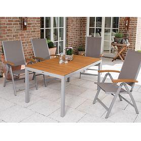 Set 4 aus 4 Stapelsesseln mit Tisch 150 x 90cm, 5tlg.