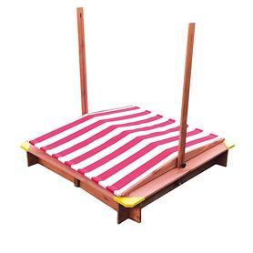 Sandkasten mit Dach rot/weiß höhenverstellbar | Kinderzimmer > Spielzeuge > Sandkästen