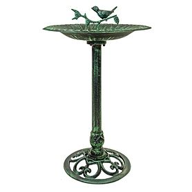 *NEU*: Vogeltränke aus Gusseisen, mit Säule, grün/schwarz