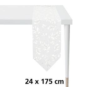Tischband Ilex weiß/silber