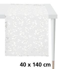 Tischläufer Ilex weiß/silber