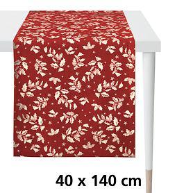 Tischläufer Ilex rot/gold