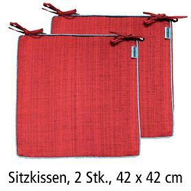 Sitzkissen 2er-Set Outdoor rot 42x42