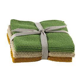 Küchentuch 3er-Set 'Kitchen Frinds' grün/gelb/natur