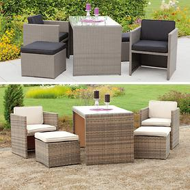 Geflecht-Dining-Lounge Sets in 2 Farben, platzsparend