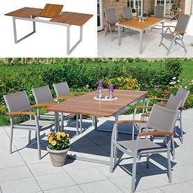 Aluminium-Gartenmöbel mit Akazienholz und Textilengewebe