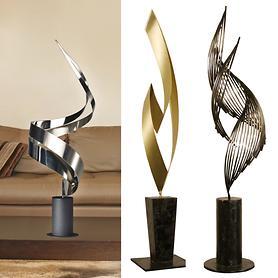 Edelstahl-Skulpturen Vanishingpoint, Cyclone & The Flame