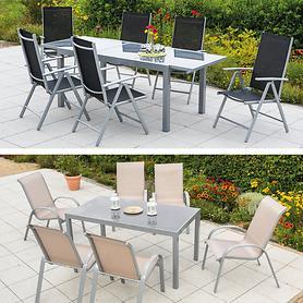 Aluminium-Gartenmöbel mit Textilbespannung und Ausziehtisch