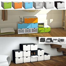 Vielseitige Stapelboxen in verschiedenen Farben