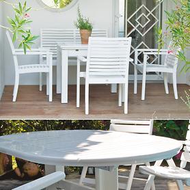 Gartenmöbel aus lackiertem Robinienholz