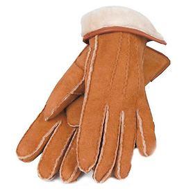 Lammfell-Handschuhe Damen/ Herren cognac Gr. 10,5