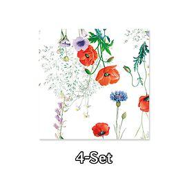 4er-Set Servietten Mille coquelicots je 50x50cm