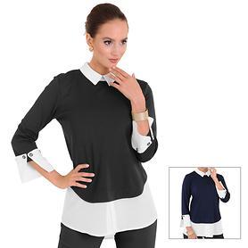 Designer Tunika-Bluse mit Manschetten