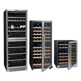 Zweizonen-Weinkühlschranke, einbaufähig, für 45, 166 oder 211 Fl.