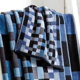 Handtuch Diego blau/grau kariert 50 x 100 cm