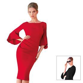 Designerkleid mit Trompetenarm und Raffungen