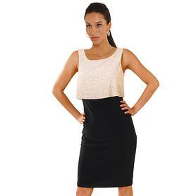 Kleid Flair creme/schwarz , Gr. 48