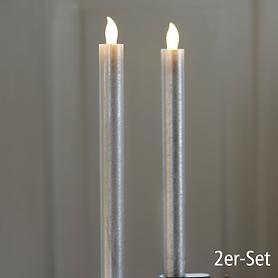 LED-Stabkerzen 2er-Set silber