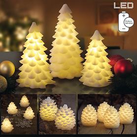 LED-Wachszapfen & LED-Weihnachtsbaum Carla