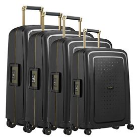 Samsonite S'Cure DLX Trolleys, black/gold deluscious, 4 Rollen