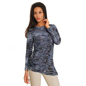 Langarm-Shirt Crinkle blau Gr. S