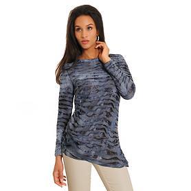Langarm-Shirt Crinkle Gr. XL blau