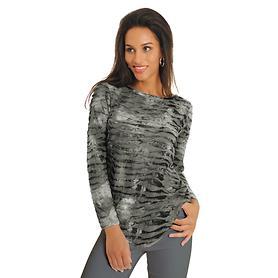 Langarm-Shirt Crinkle grau Gr. XL