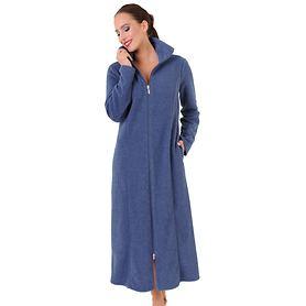 Bademantel Fleece blau Gr.48