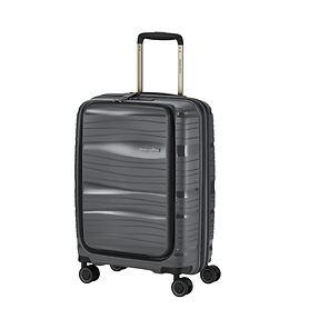 Travelite Motion, 55cm, mit Vortasche, Trolley, anthrazit, 4 Rollen, Kabinengepäck