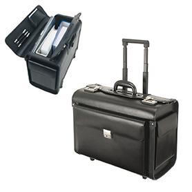 Pilotenkoffer Silvana, 48,5 cm, schwarz, Leder, 2 Rollen, Kabinengepäck